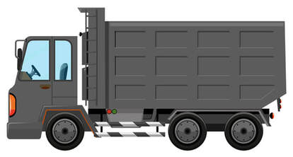 A cartoon grey garbage truck.