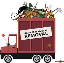 A cartoon design of a garbage removal truck carrying junk and debris.