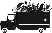 A silhouette cartoon drawing of a garbage removal truck.